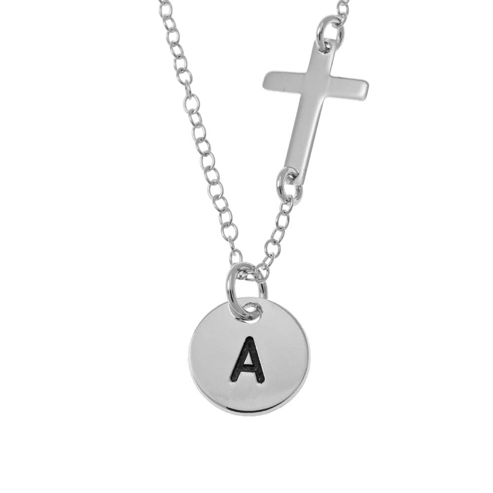 Initial Disco and Cross Collar silver