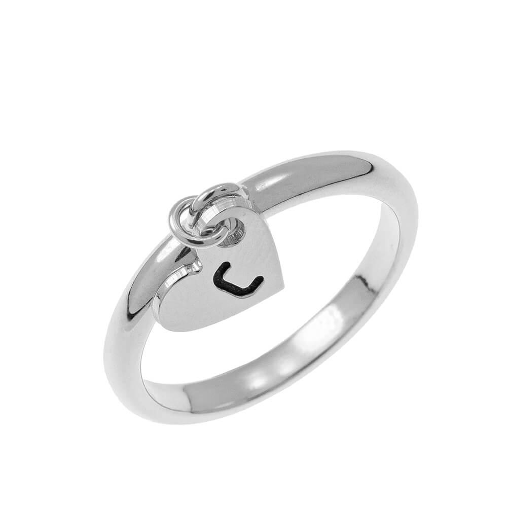 Initial Corazón Dije Ring silver