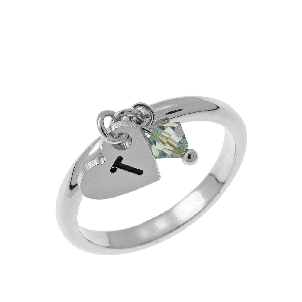 Initial Corazón Dije Ring with Birthstone silver