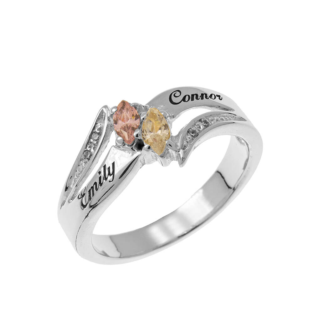 Inlay Couples Birthstones Ring silver