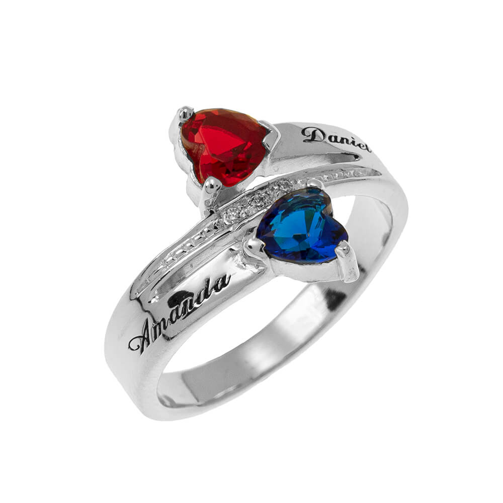 Inlay Double Corazón Birthstone Promise Ring silver