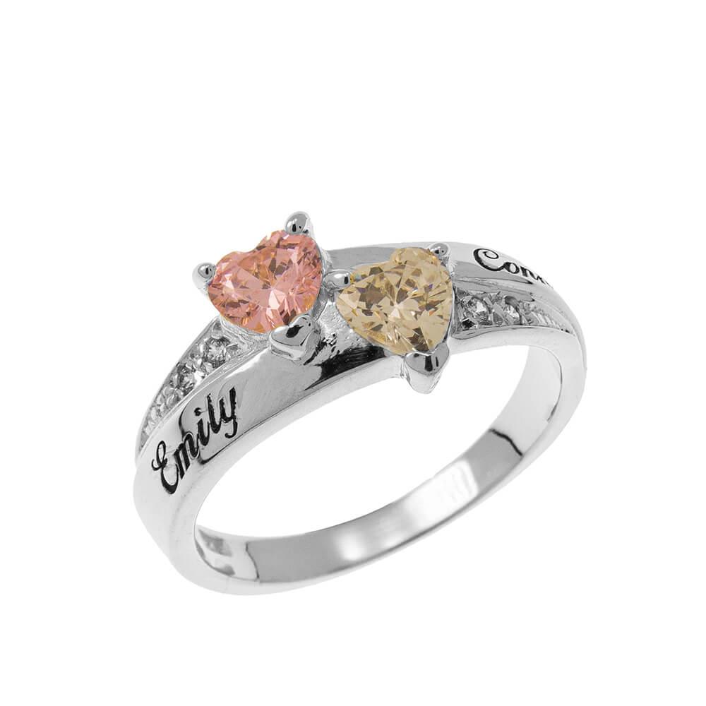 Inlay Double Corazón Birthstone Ring silver