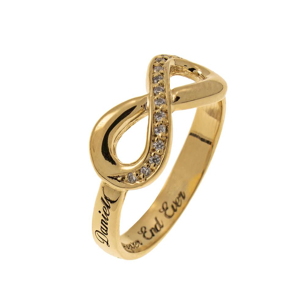 Inlay Infinity Ring with Grabado gold 2