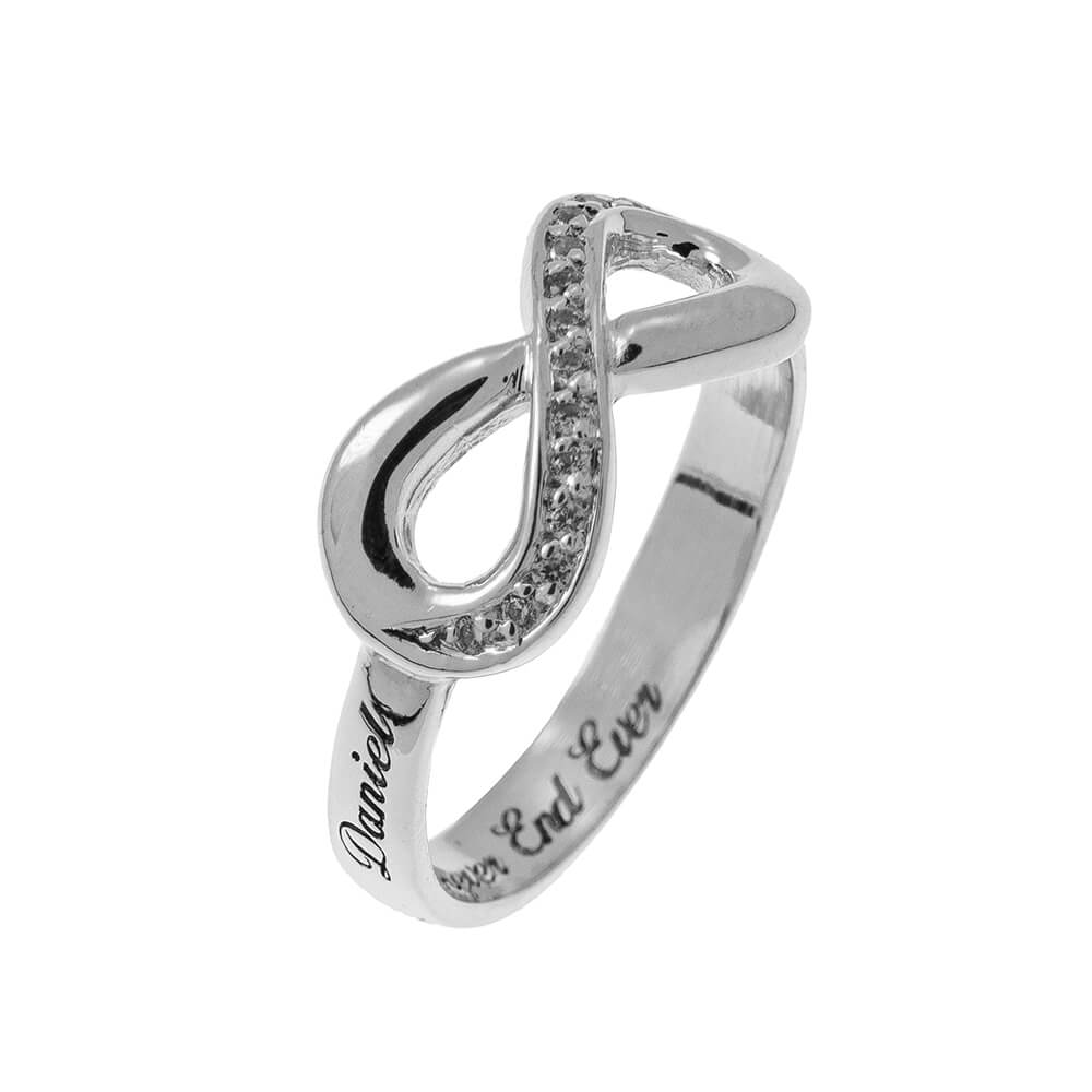 Inlay Infinity Ring with Grabado silver 2