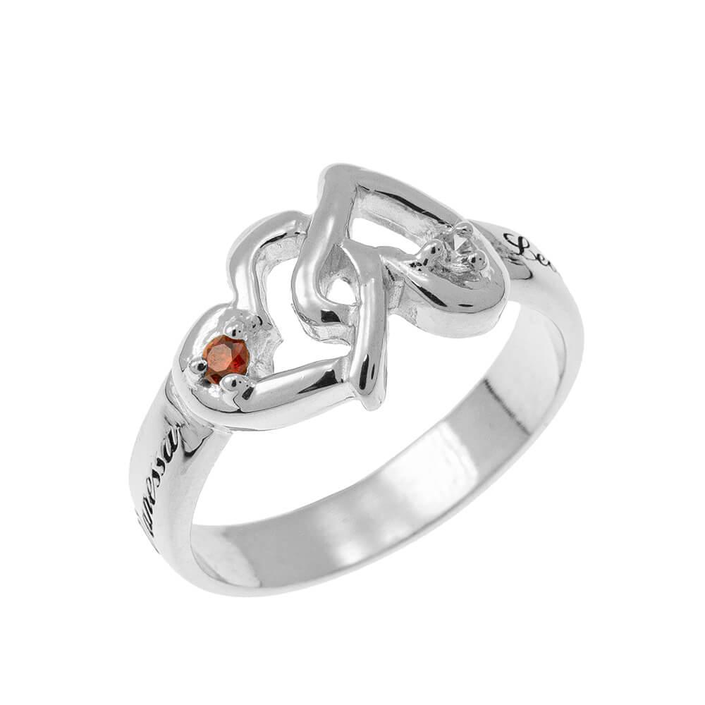 Interlocking Birthstones CORAZONES Ring silver 1
