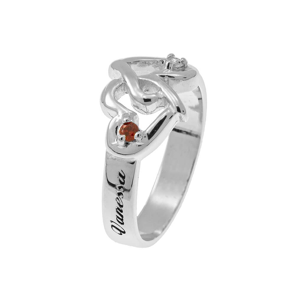 Interlocking Birthstones CORAZONES Ring silver