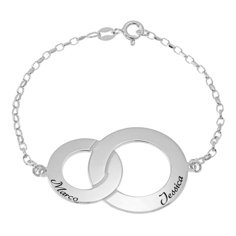 Interlocking Circles Pulsera with Nombres silver
