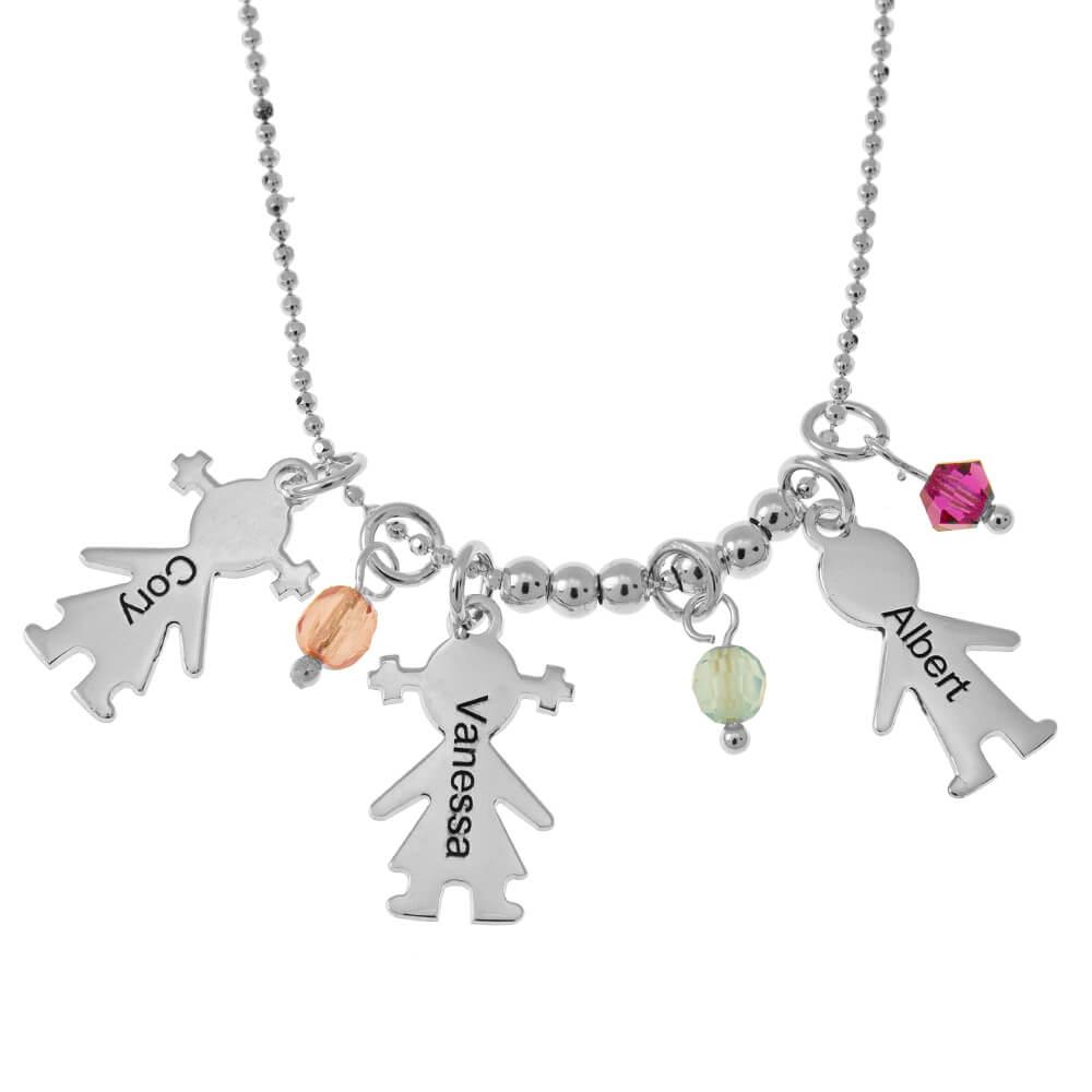 Kids DIJES and Birthstones Collar silver