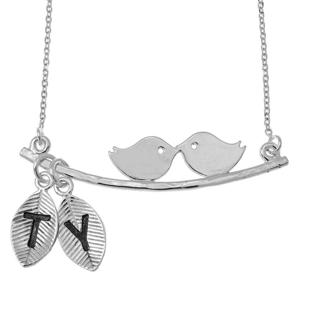Love PÁJAROS Collar With Leaves silver