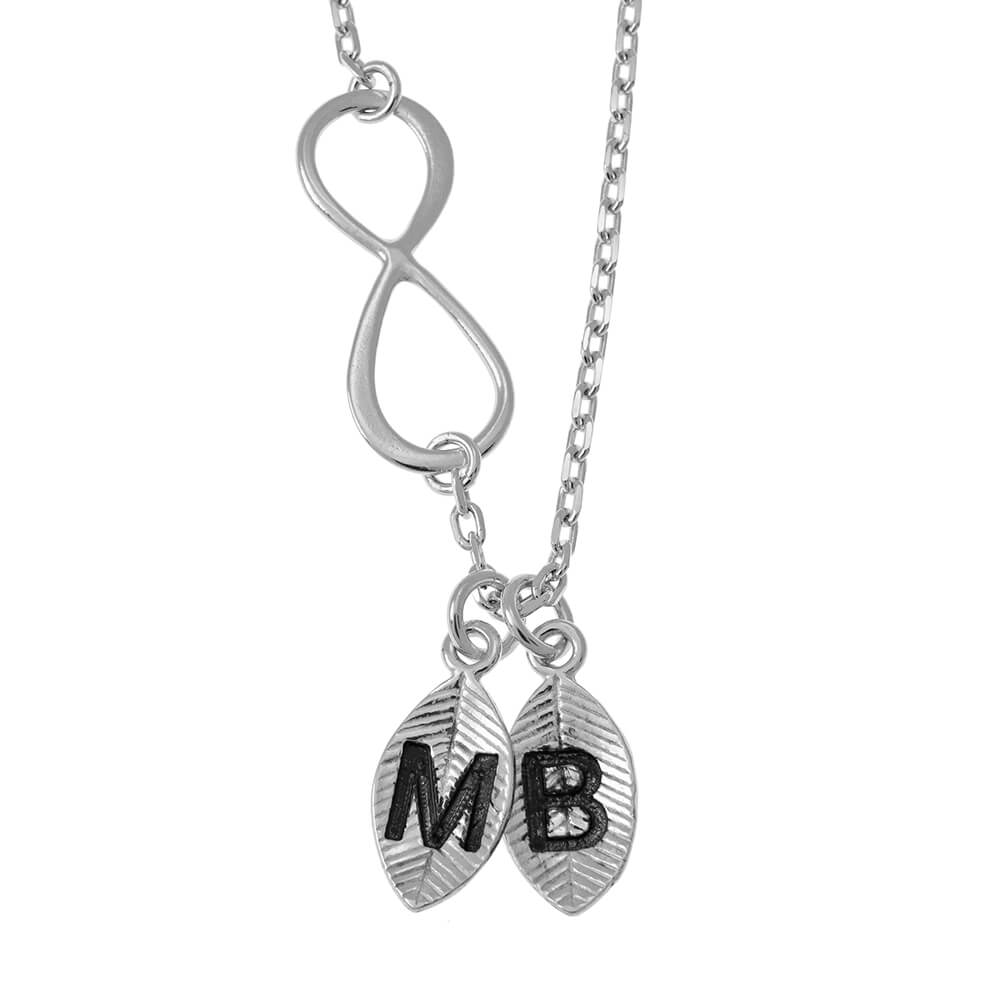 Lovers Infinity Collar with Leaves silver