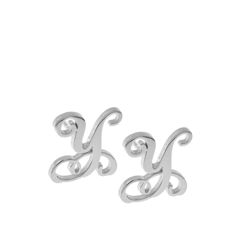 Monogram Stud Aretes silver