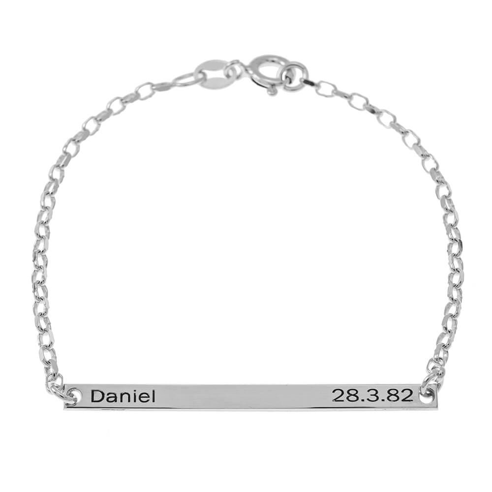 Nombre and Date Plate Pulsera silver