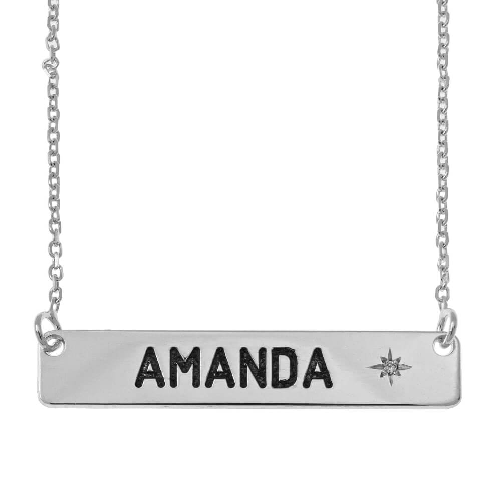 Personalized Barra Collar with Birthstone silver