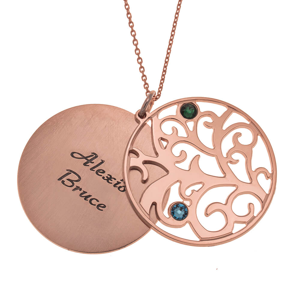 Personalized Double Layer Family Tree Collar 2 names rose gold