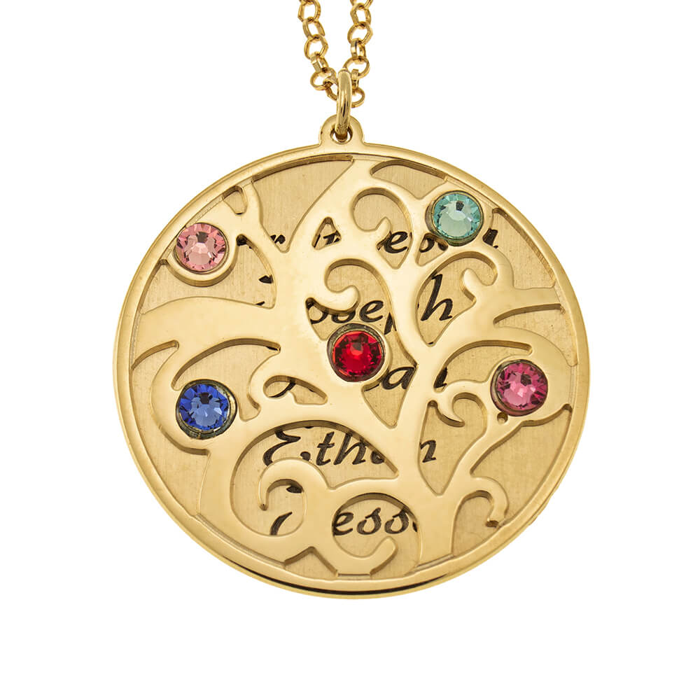 Personalized Double Layer Family Tree Collar gold
