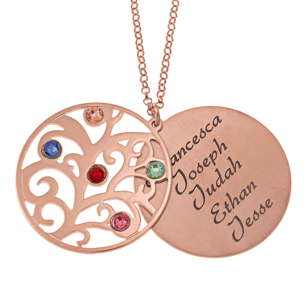 Personalized Double Layer Family Tree Collar rose gold 1