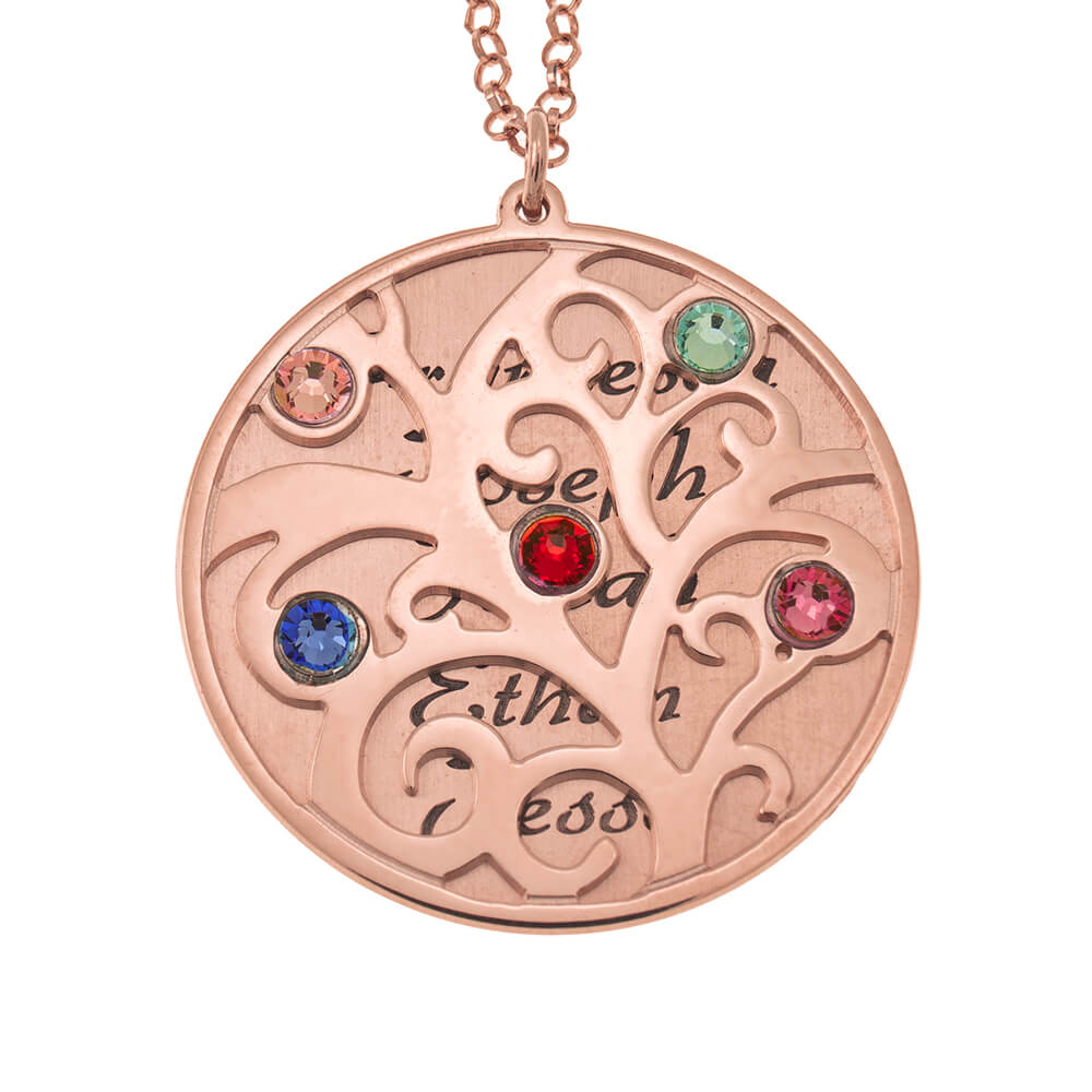 Personalized Double Layer Family Tree Collar rose gold