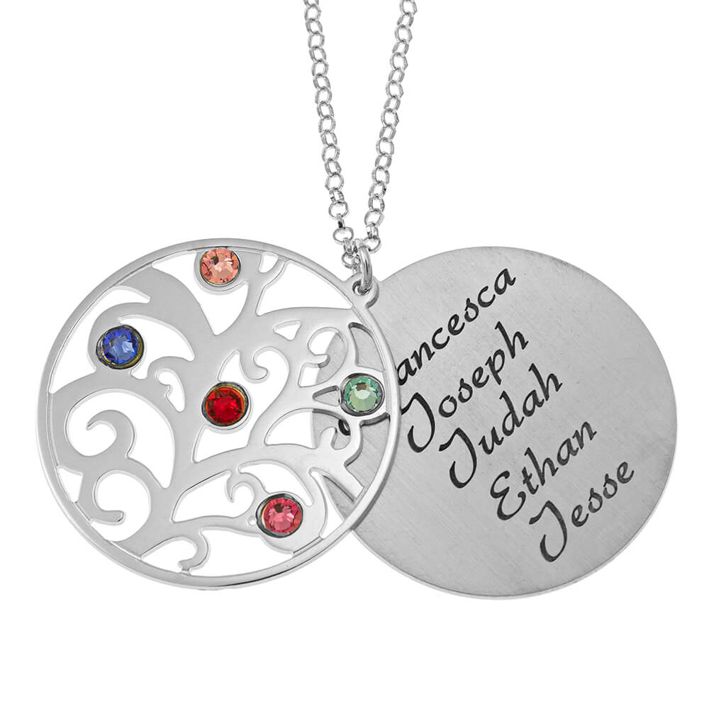 Personalized Double Layer Family Tree Collar silver 1