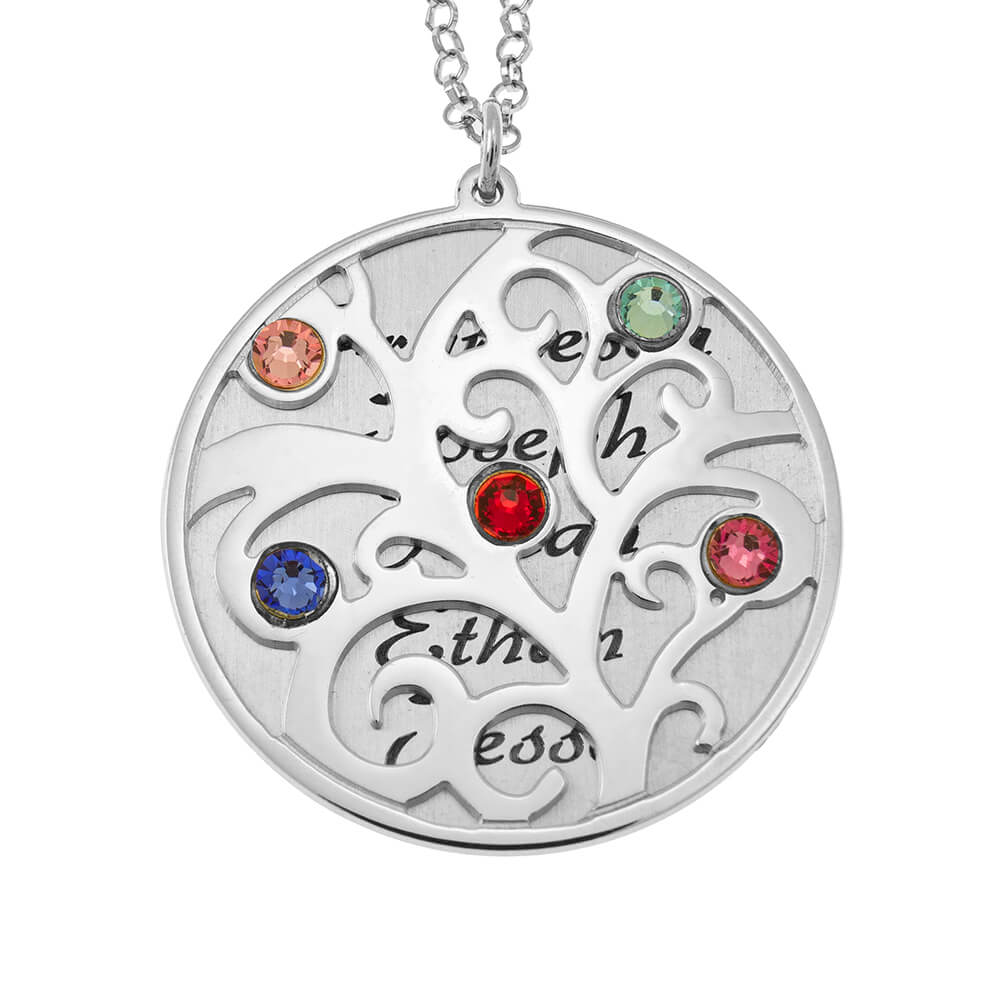 Personalized Double Layer Family Tree Collar silver
