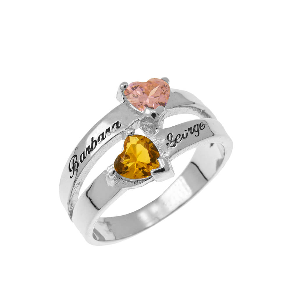 Personalized Corazón-Shaped Birthstone Ring silver