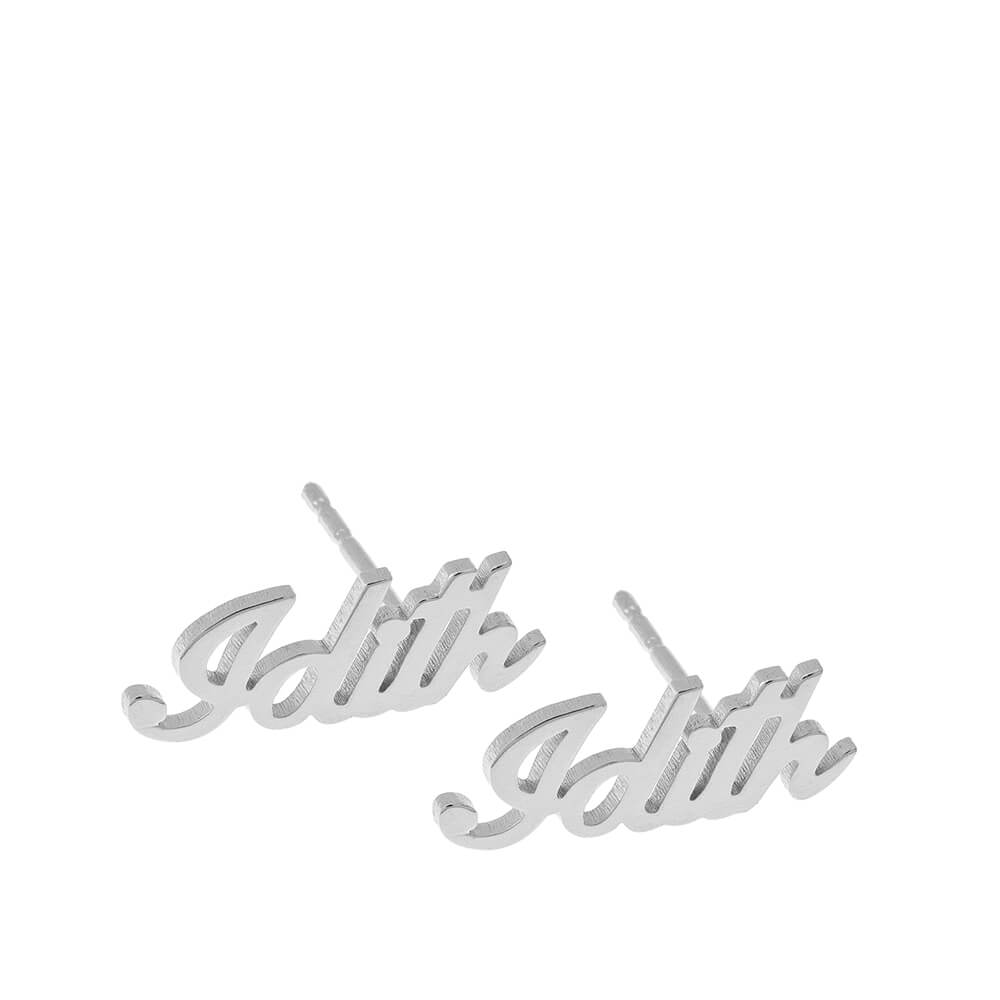 Personalized Nombre Stud Aretes silver