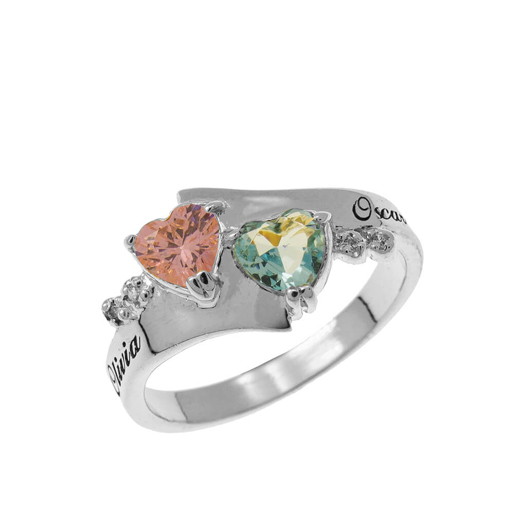 Promise Double Corazón Birthstone Ring silver