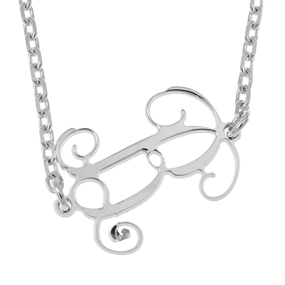 Sideways Initial Monogram Collar silver