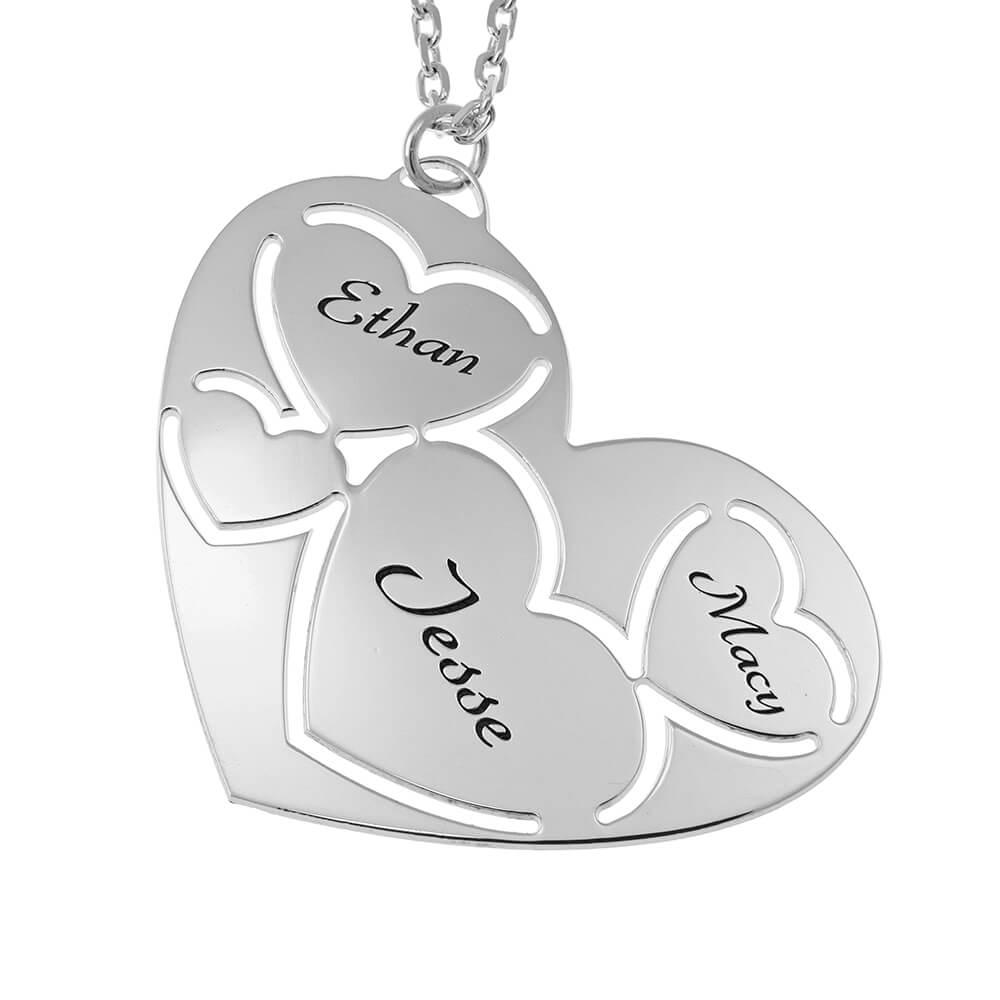 Three Nombres in Corazón Collar silver