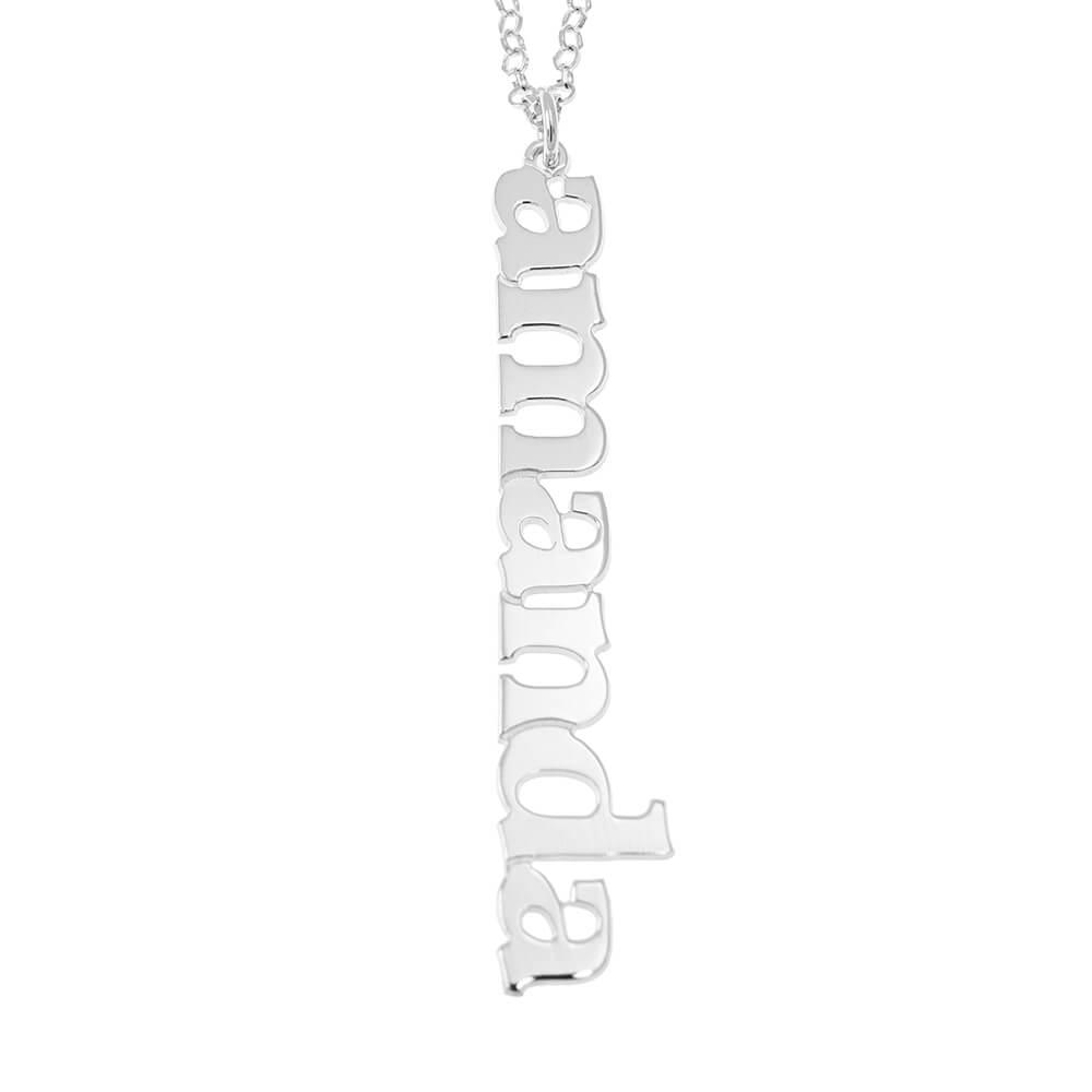 Vertical Diseña Nombre Collar silver