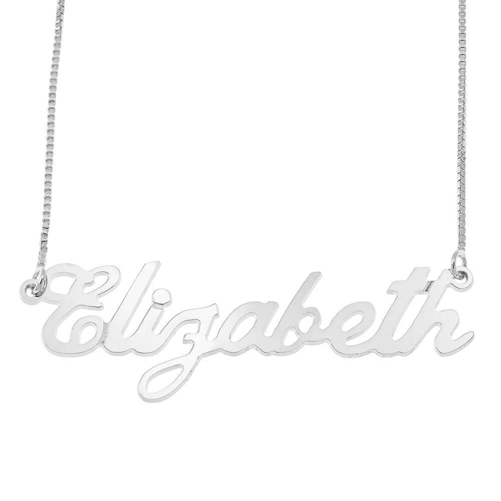 Carrie Estilo Caja Nombre Collar silver