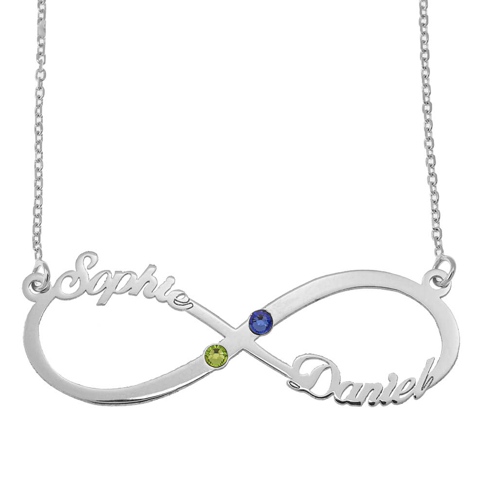 Infinity Cut Out Nombre Collar with Birthstones silver