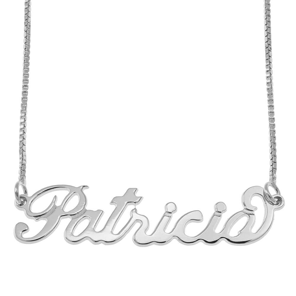 Small Carrie Nombre Collar with Cadena Caja silver