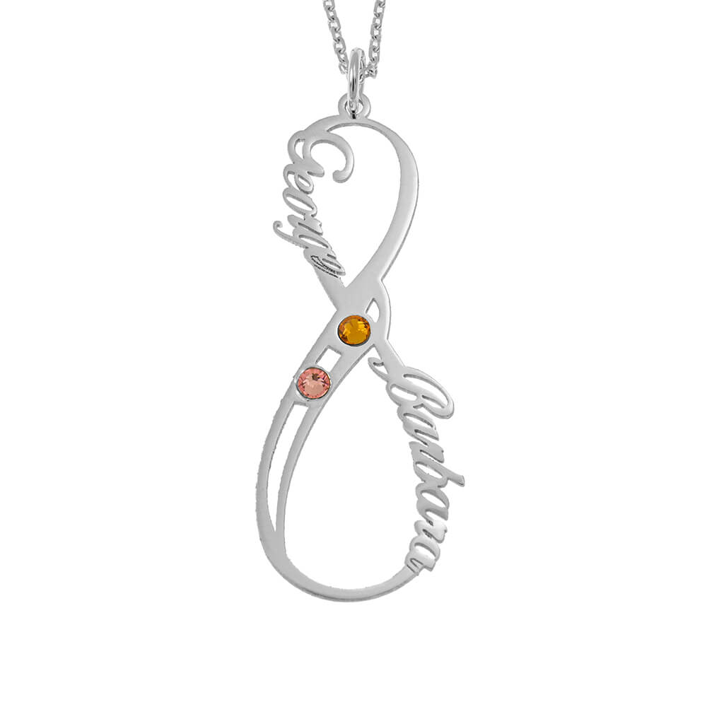 Vertical Infinity Nombre Collar with Birthstones silver