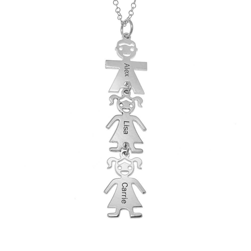 Vertical Mother's Collar with Kids silver