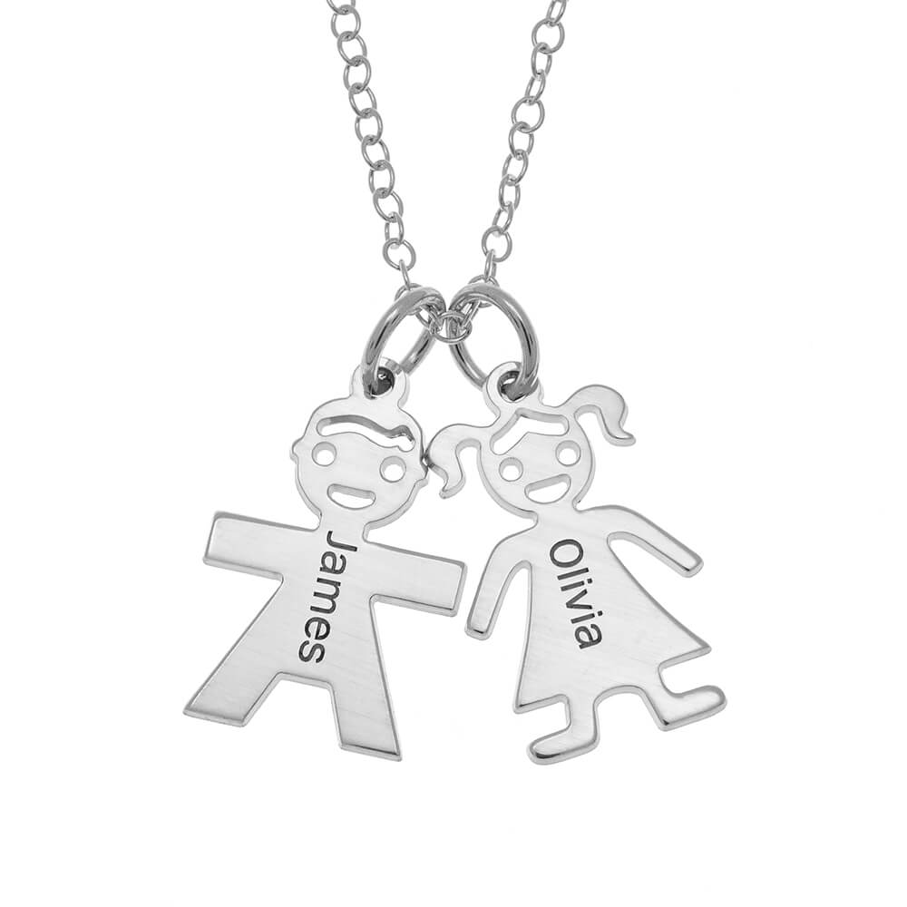 Horizontal Mother's Collar with Kids silver