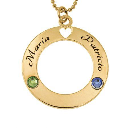 Collar círculo de amor con piedras de nacimiento