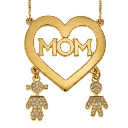 Collar corazón de mamá con pendientes de niños