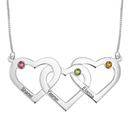 Collar de tres corazones entrelazados con piedras de nacimiento