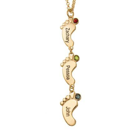 Collar vertical con pies de bebé y piedras de nacimiento