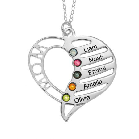 Collar personalizado corazón de mamá con piedras de nacimiento