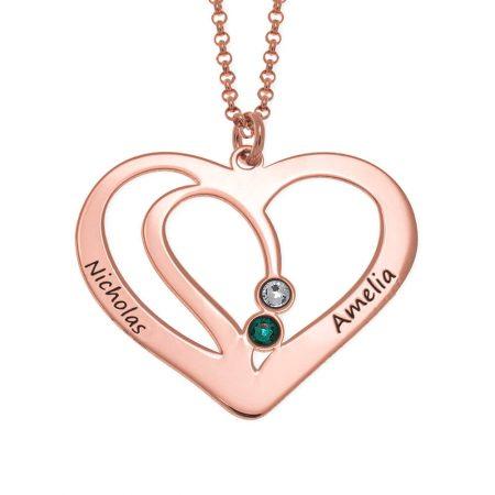 Collar de Corazón de Pareja Grabado con Piedras de Nacimiento