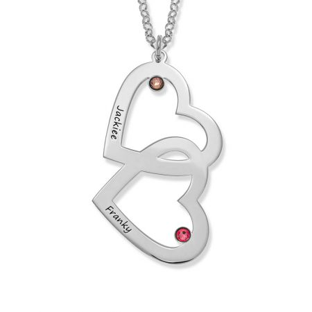 Collar de corazón a corazón con piedras de nacimiento
