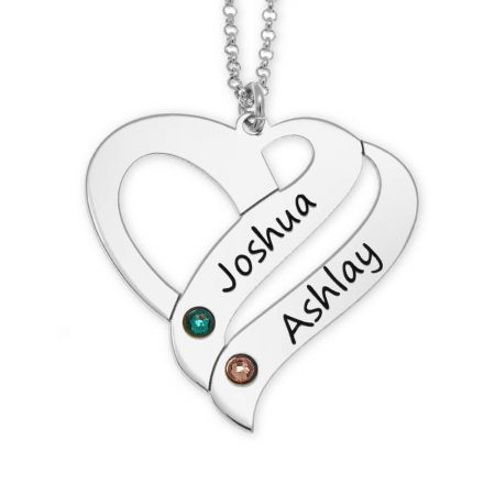 Collar Corazón de Pareja Personalizado con Piedras de Nacimiento