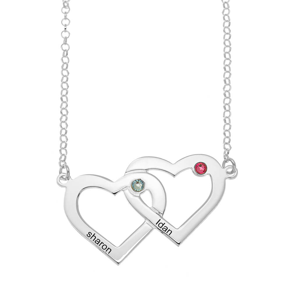 Two Intertwined Hearts and Birthstones Necklace silver