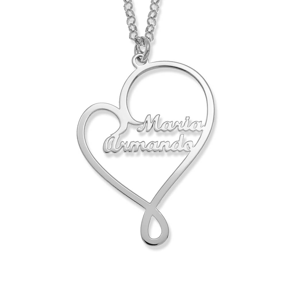 Written With Love Heart Names Necklace silver
